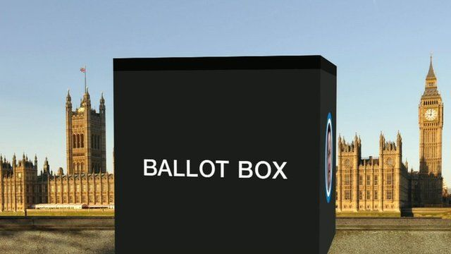 Ballot box graphic in front of the Palace of Westminister