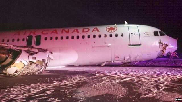 Air Canada Airbus A320 which slid off the runway following a hard landing in Halifax, Nova Scotia, Canada