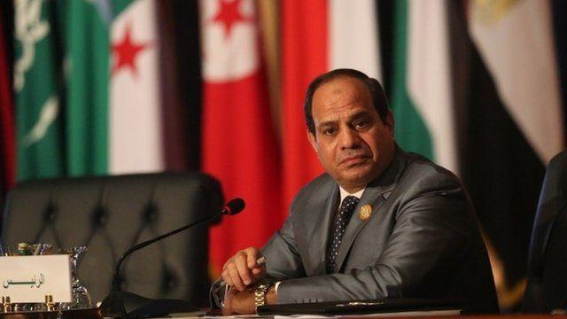 Egyptian President Abdel Fattah al-Sisi chairs an Arab foreign ministers meeting during an Arab summit
