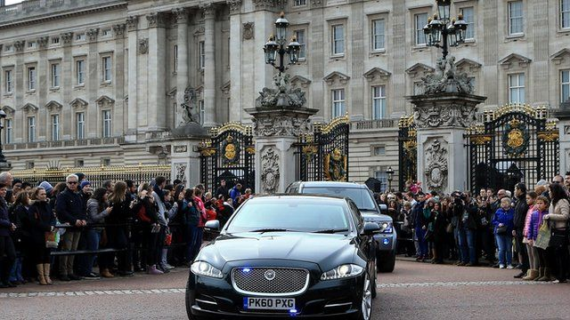 David Cameron's motorcade leaving Buckingham Palace