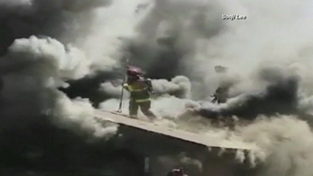 The firefighter in Fresno tackling the blaze