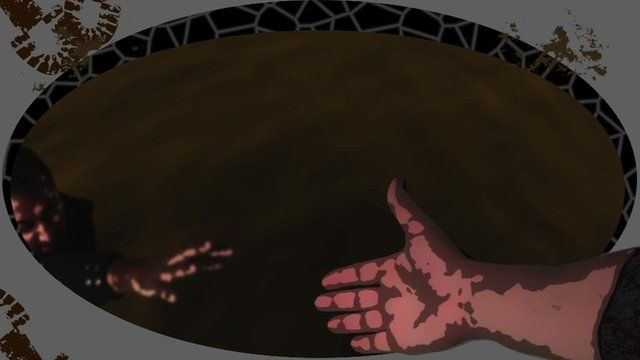 Hand reaching out to a person in a vat of chocolate