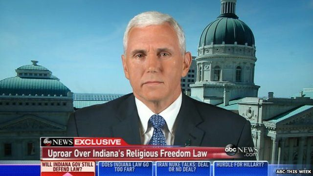 Indiana Governor Mike Pence appearing on ABC on Sunday