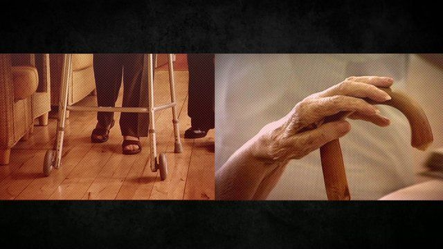 A shot of an elderly lady walking on a zimmer frame, and another of a walking stick