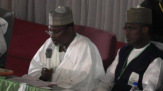 Inec chairman Attahiru Jega (left)
