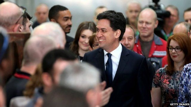 Ed Miliband (centre) in Huddersfield on 1 April 2015