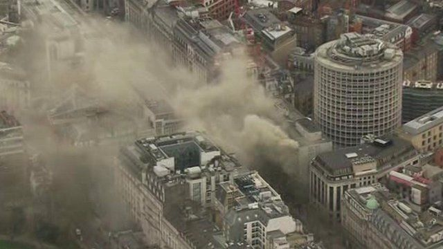 Aerial view of smoke rising