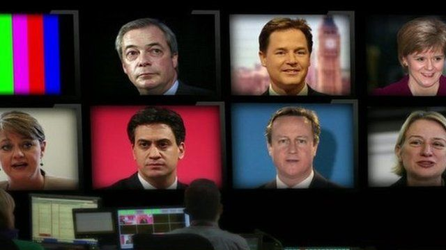 TV gallery with pictures of seven leaders