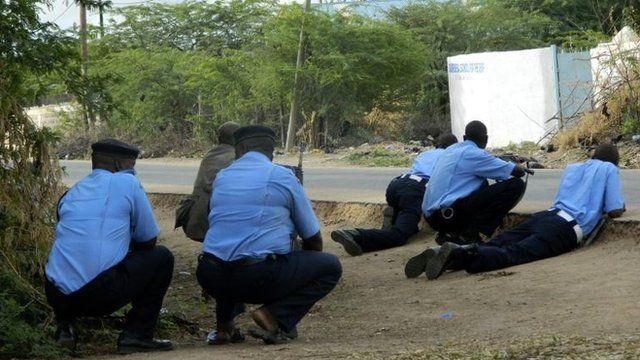 Kenyan police on campus in Garissa