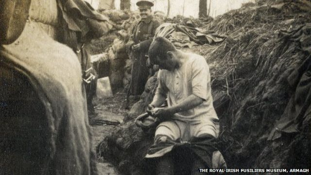 Royal Irish Fusiliers in the World War One trenches