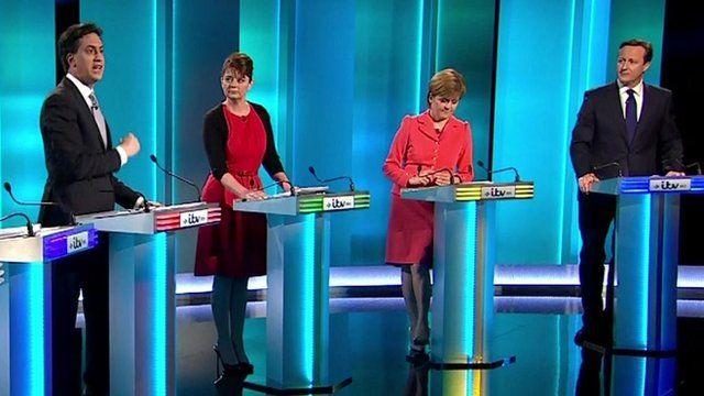 Ed Miliband (far left) and David Cameron (far right)