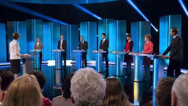 The leaders at the debate