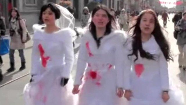 Three feminist protestors in China