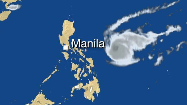 BBC weather graphic of typhoon approaching Philippines