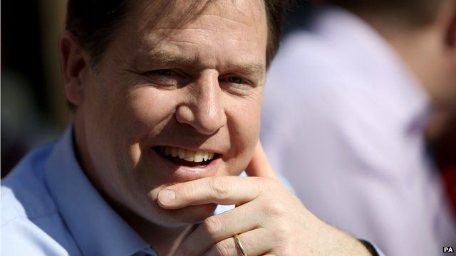 File photo of Liberal Democrat leader Nick Clegg campaigning in Surbiton