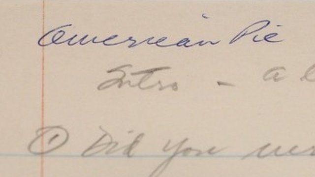 American Pie manuscript