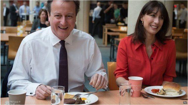 David Cameron with Samantha having breakfast