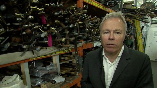 Gavin Hewitt in the armoury of the studio where Game of Thrones is filmed in Belfast