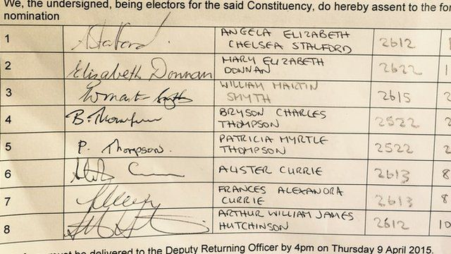 Jonathan Bell's nomination paper with Martin Smyth's name at number three