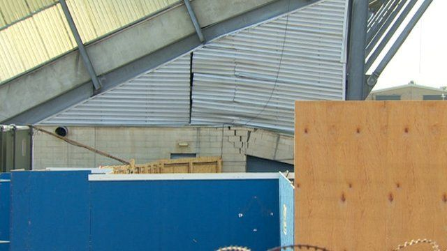 Brickwork and steelwork have been damaged, as Mark Simpson reports
