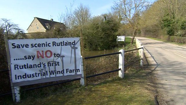 "Some villagers in Rutland oppose a proposal for an ""industrial"" wind turbine farm"