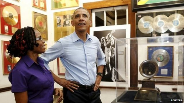 Obama in Jamaica pays tribute to Bob Marley