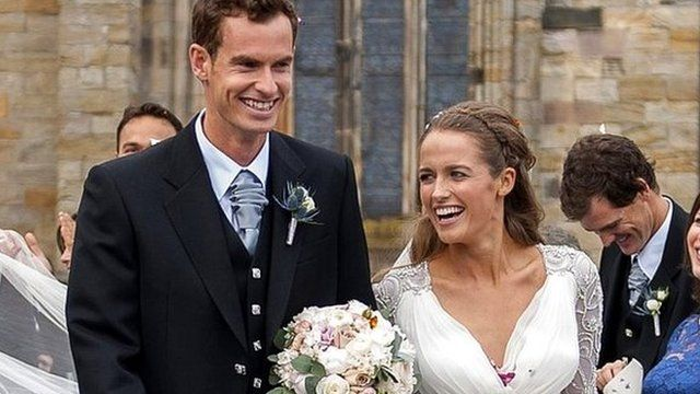 Andy Murray and his wife Kim leave the cathedral in Dunblane