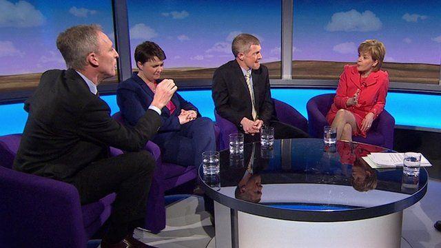 From left: Scottish Labour leader Jim Murphy, Scottish Conservatives leader Ruth Davidson, Scottish Liberal Democrat leader Willie Rennie, SNP leader Nicola Sturgeon