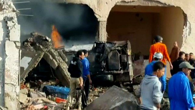 Aftermath of blast outside a police station in El-Arish
