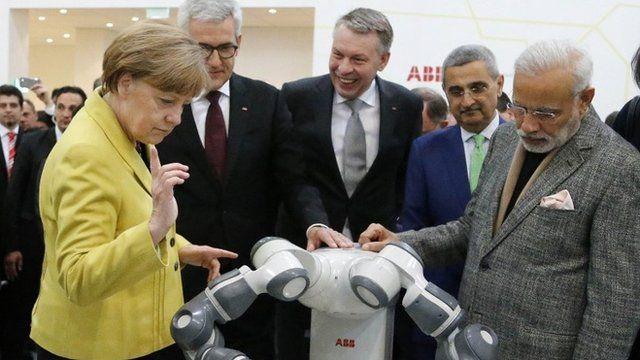 Angela Merkel and Narendra Modi at industrial fair in Hanover