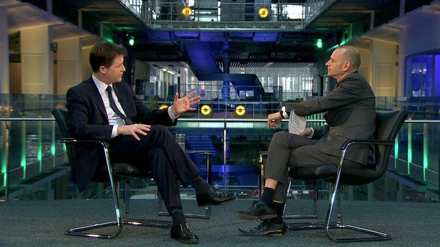 Nick Clegg in an interview with the BBC's Evan Davis for the series 'The Leader Interviews'