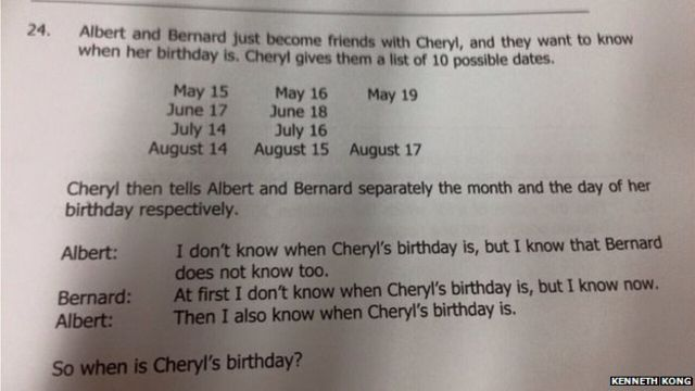 Cheryl's Birthday: Singapore's maths puzzle baffles world
