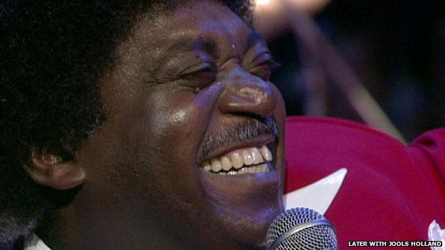 Close up of Percy Sledge singing on 'Later with Jools Holland' in 1994