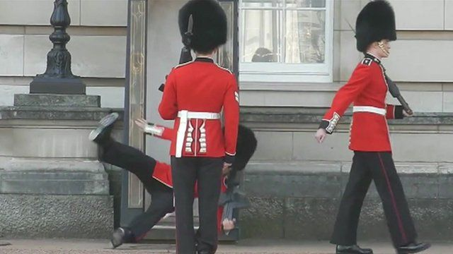 Guard falling over