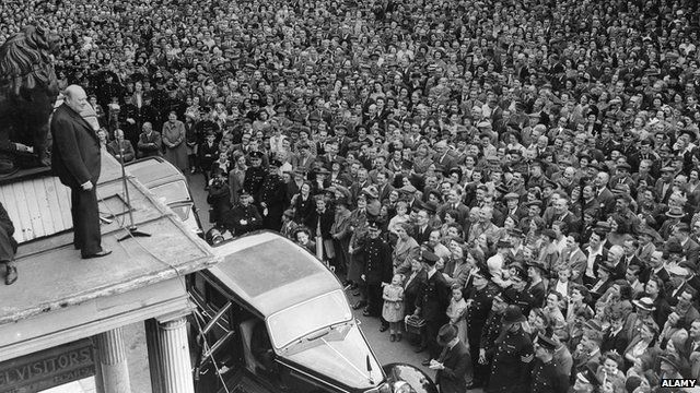 Winston Churchill campaigning in 1945