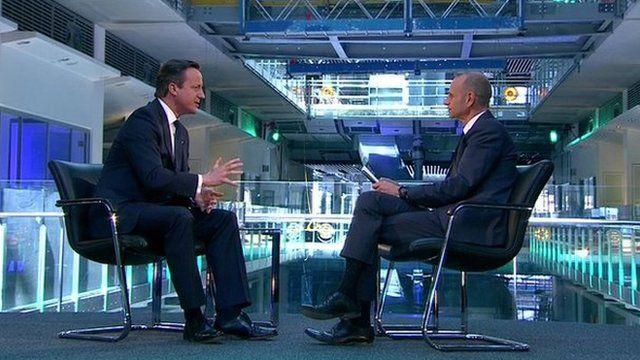 David Cameron and Evan Davis