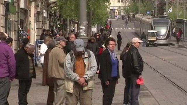 Israelis observing the silence