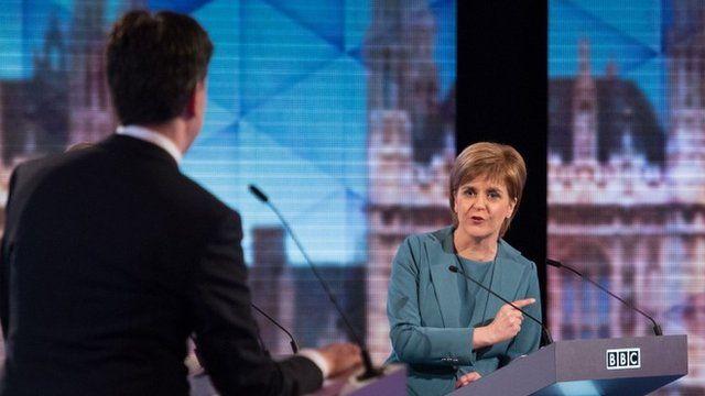 Ed Miliband and Nicola Sturgeon at debate