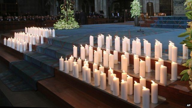 Candles lit in Cologne Cathedral in Germany