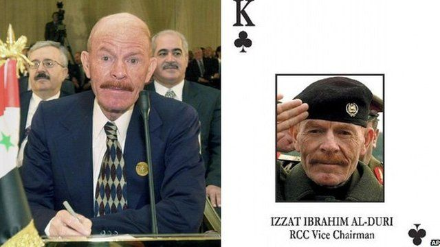 Al-Douri in 2002 and in the US pack of cards of wanted Iraqi leaders