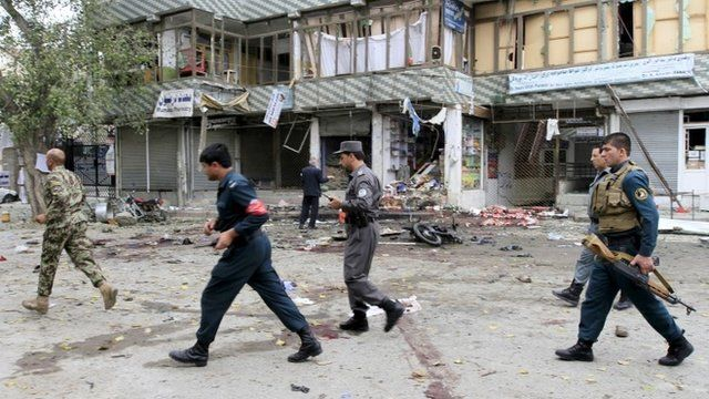Site of a suicide attack in Jalalabad