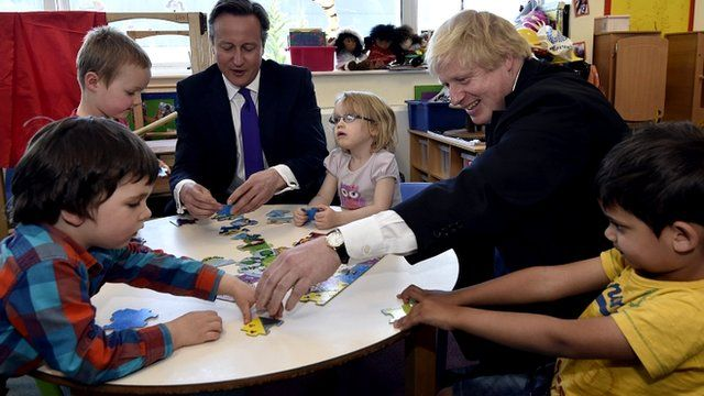 David Cameron and Boris Johnson do a jigsaw