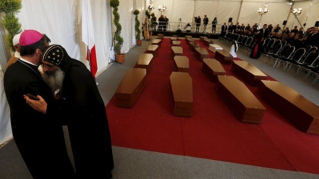 Coffins in marquee