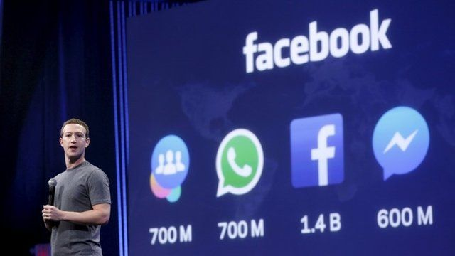 Mark Zuckerberg gives his keynote address in San Francisco