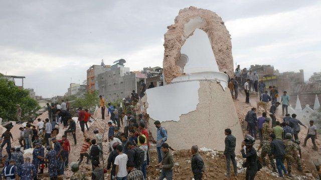 Collapsed tower in Kathmandu