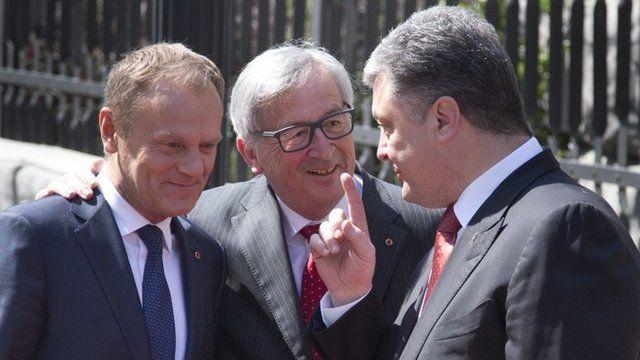 Donald Tusk, Jean-Claude Juncker and Petro Poroshenko