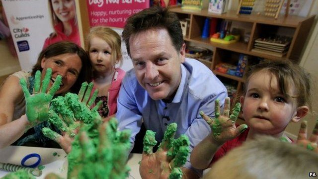 Nick Clegg at a nursery in Dorset