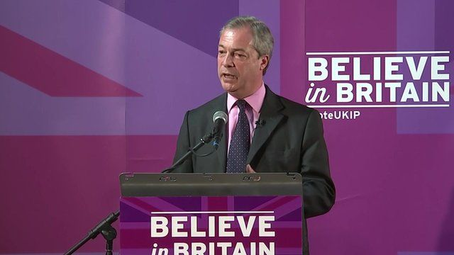 Nigel Farage at podium