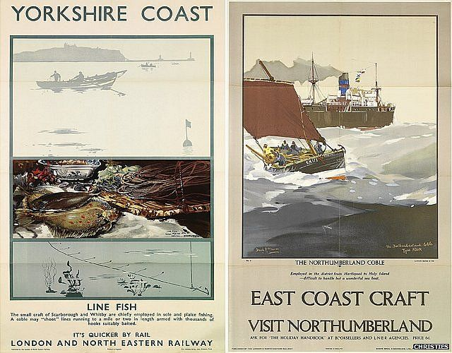 LNER Yorkshire coast and Northumberland posters by Frank Henry Mason