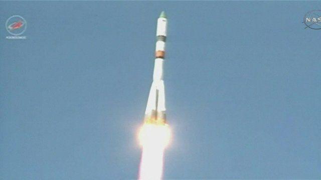 The Progress rocket after take-off